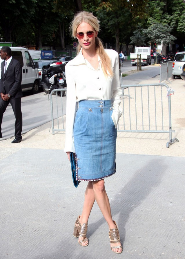 Poppy-Delevingne-Denim-Pencil-Skirt-Bordered-with-Colorful-Braided-Trim-by-Channel