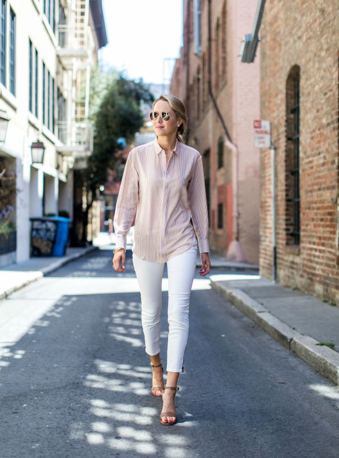 pink-and-white-striped-dress-shirt-white-cropped-jeans-nude-ankle-strap-sandals-rayban-aviators-street-fashion